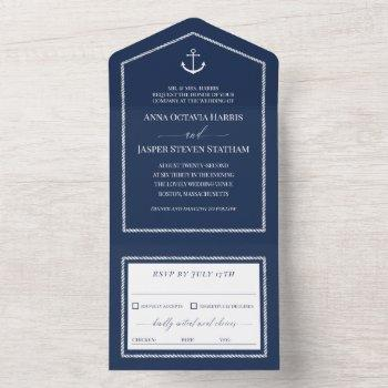 navy white anchor nautical wedding  all in one invitation