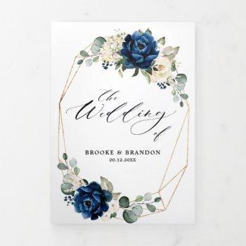 navy white ivory geometric tri-fold wedding invite