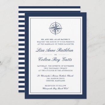 navy & white nautical compass wedding invitation