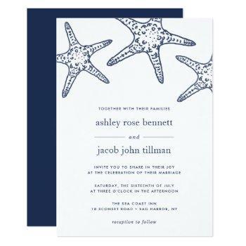 navy & white starfish wedding invitation