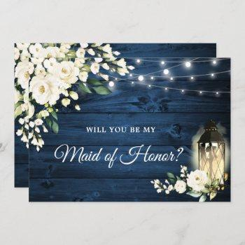 navy wood white roses will you be my maid of honor invitation
