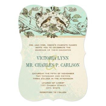 neo mint birds oak tree forest wedding invitation