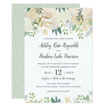 neutral blooms green floral watercolor wedding invitation