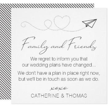 neutral change of plans - wedding postponed note invitation