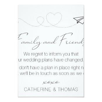 Small Neutral Change Of Plans - Wedding Postponed Note Invitation Front View