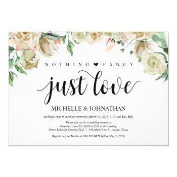 neutral spring elopement reception invitation card