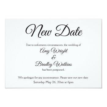 """new date"" elegant postponed wedding announcement"