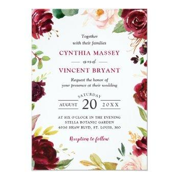 Small New! Lovely Burgundy Blush Floral Modern Wedding Invitation Front View