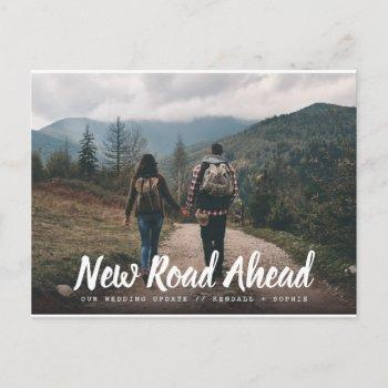 new road ahead wedding update photo announcement postcard