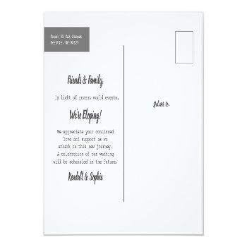 Small New Road Ahead Wedding Update Photo Announcement Postcard Back View
