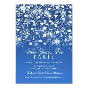 new years eve party holiday string lights blue invitation