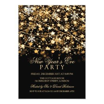 Small New Years Eve Party Holiday String Lights Gold Invitation Front View