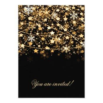 Small New Years Eve Party Holiday String Lights Gold Invitation Back View