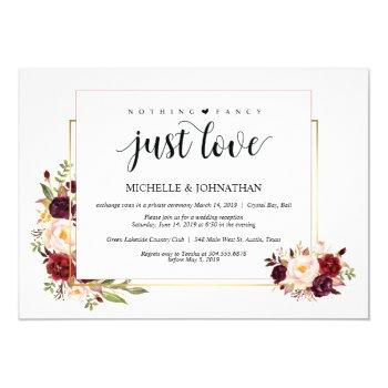 nothing fancy, elopement reception invitation card