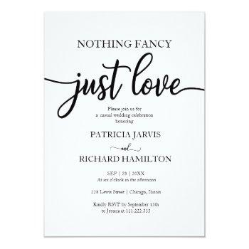 Small Nothing Fancy Just Love Casual Wedding Invitation Front View