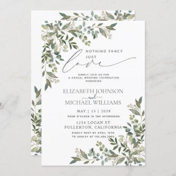 nothing fancy just love eucalyptus casual wedding invitation