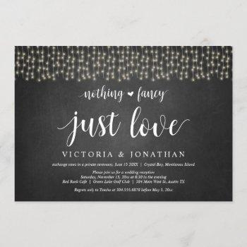 nothing fancy, just love, string light, elopement invitation