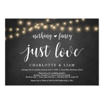nothing fancy, just love, string light, elopement invitation