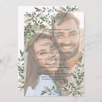 nothing fancy just love vellum eucalyptus photo invitation