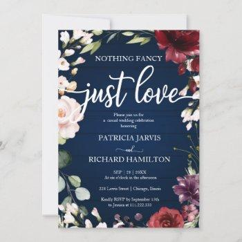 nothing fancy just love wedding navy blue floral invitation