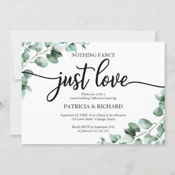 nothing fancy just love wedding reception greenery invitation