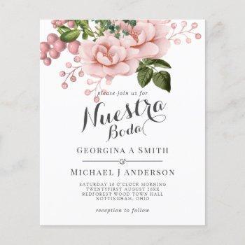 nuestra boda invitacion - blush pink roses bouquet