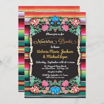 nuestra boda mexican fiesta party gold glitter invitation