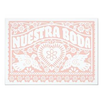 nuestra boda papel picado love birds in rose gold invitation