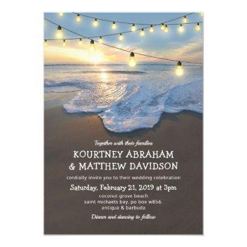 ocean beach seaside string lights wedding invitation
