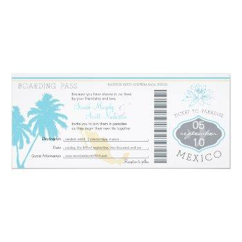 ocean blue palm tree  mexico wedding boarding pass invitation