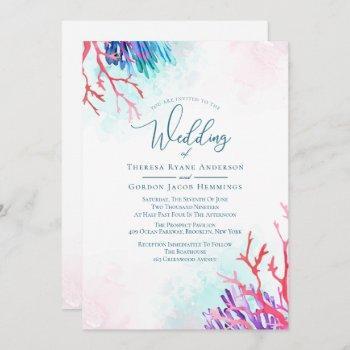 ocean coral wedding invitations