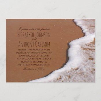 ocean sand and waves beach themed wedding invitation