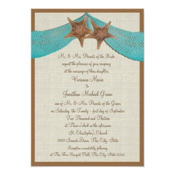 Small Ocean Starfish And Net Wedding Invitation Front View