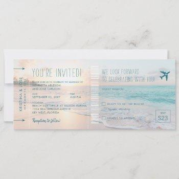 ocean sun beach wedding ticket invite with rsvp