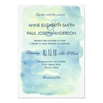 Small Ocean Watercolor Wedding Invitation Front View
