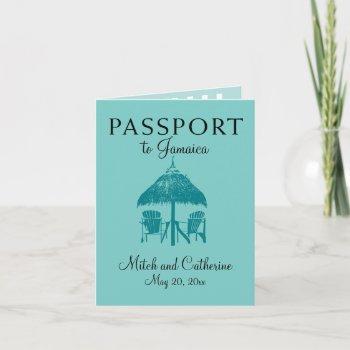 ocho rios jamaica wedding passport - teal invitation