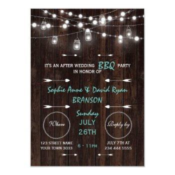 old barn mason jars lights after wedding bbq party invitation