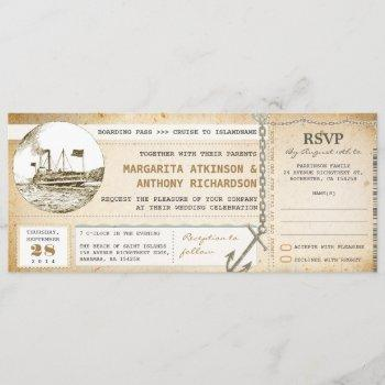 old boarding pass cruise wedding invites with rsvp