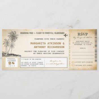 old boarding pass flight wedding invites with rsvp
