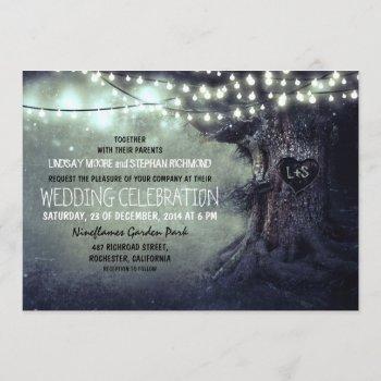 old carved tree twinkle lights rustic wedding invitation