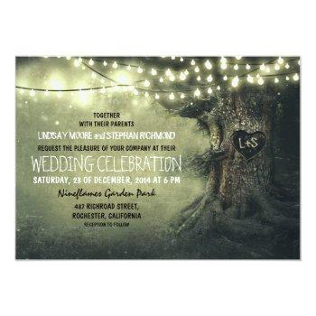 old carved tree twinkle lights rustic wedding invitation