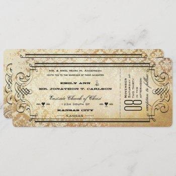 old paper ticket flourish typography wedding invitation
