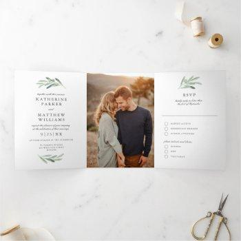 olive watercolor and faux rose gold wedding photo tri-fold invitation