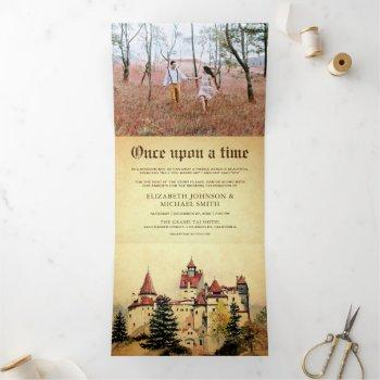 once upon a time fairytale castle wedding photo tri-fold invitation