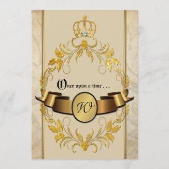 once upon a time monogram fantasy wedding invite