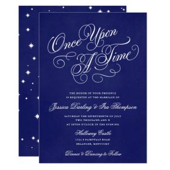 once upon a time wedding invitations royal blue