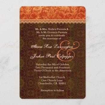 orange and brown damask wedding invitation v07