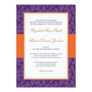 orange and purple damask swirl wedding invitation