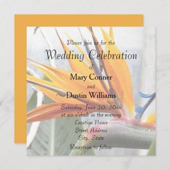 orange bird of paradise floral wedding invitation