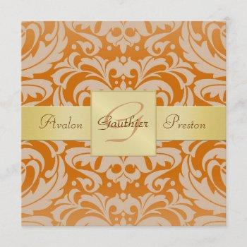 orange damask monogram gold ribbon invitation